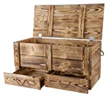 Traumhaft rustikale Holztruhe (85 x 39 x 40 cm, geflammt)...